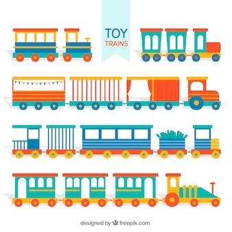 ワゴンの様々なおもちゃの列車のセット