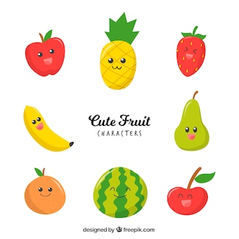 Разнообразие симпатичных персонажей фруктов
