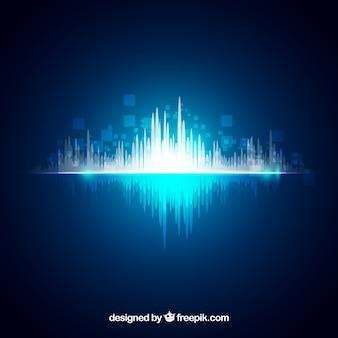 抽象的な音波と光沢のある背景