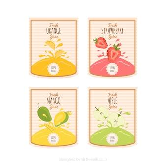 Пакет полосатых наклеек с различными фруктовыми соками
