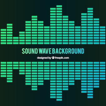 緑のトーンでの音波の背景