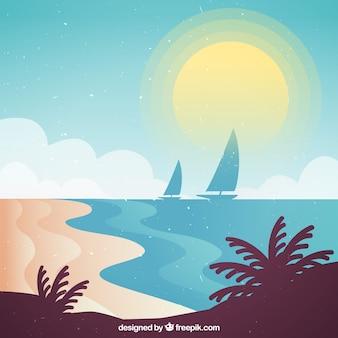 Пляж фона с лодками