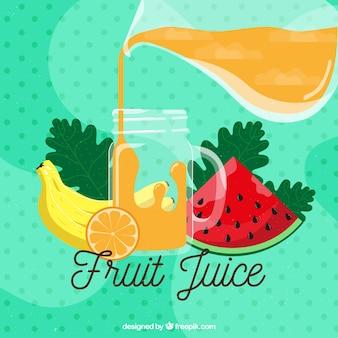 Пунктирный фон со свежими фруктовыми соками