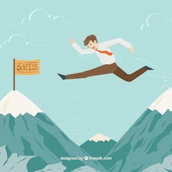 成功にジャンプするビジネスマン