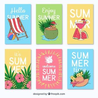 Разнообразные летние карты, нарисованные от руки