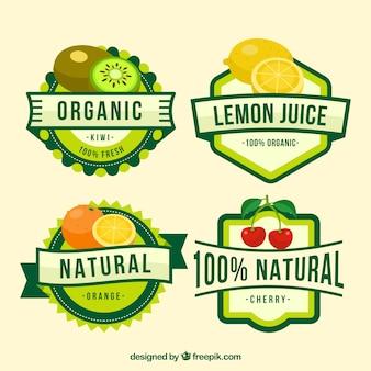 Наклейка из четырех больших наклеек с фруктовым соком