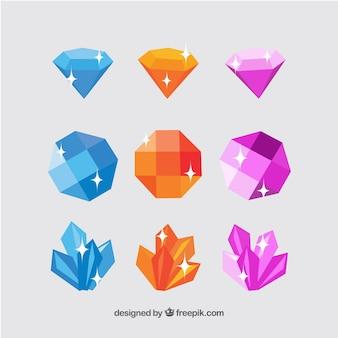 色の付いた宝石のフラットアソートメント