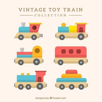 Пакет винтажных поездов в плоском дизайне