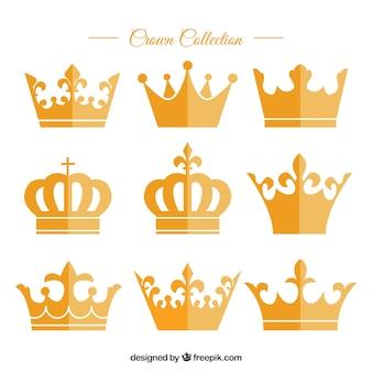 Разнообразие золотых коронок в плоском дизайне