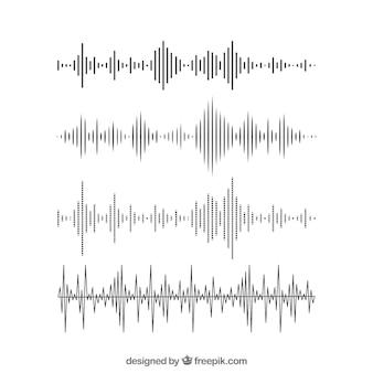 Набор звуковых волн в плоском дизайне