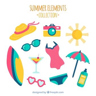 装飾的な夏の要素のフラットパック