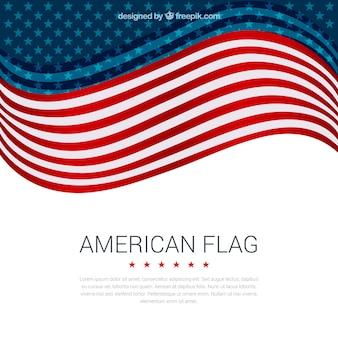 フラットデザインの波状のアメリカの旗の装飾的な背景