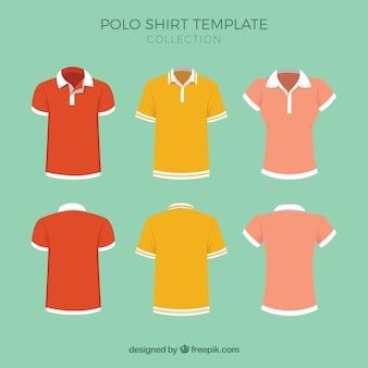 ポロシャツのテンプレートコレクション