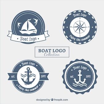 白い要素による丸いボートのロゴの選択