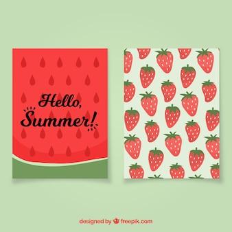 Летние открытки с арбузом и клубникой