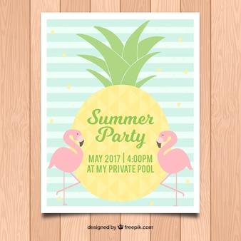 Полосатый шаблон постера для летней вечеринки