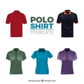 男性と女性の異なるパターンのポロシャツコレクション