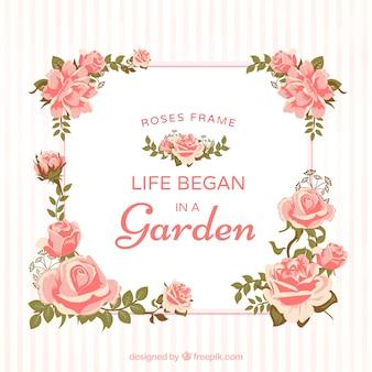 Декоративная рамка из роз