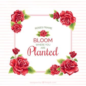 Рамка из красных роз с акварелью