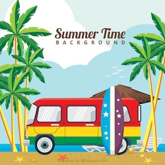 Красочные караван фон на пляже в плоский дизайн