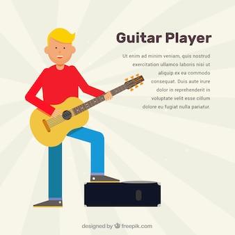 アコースティックギターを演奏する幸せな男の背景