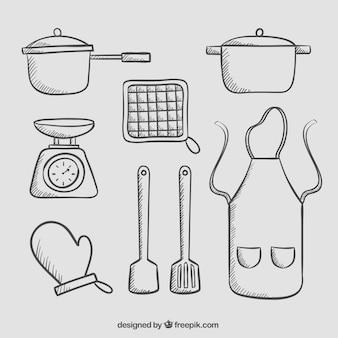 エプロンと手描きの台所用品パック