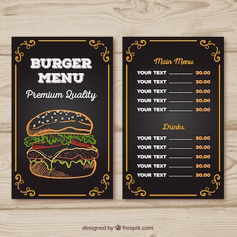 バーガーメニューのチョークデザイン