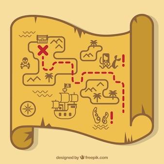Фон пиратской карты сокровищ