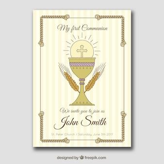 手描きの聖体拝領カード