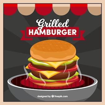 おいしいハンバーガーの色の背景