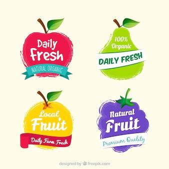 素晴らしい果物のラベルのセット