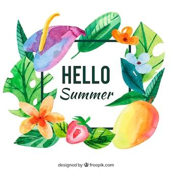 果物と花の水彩夏の背景