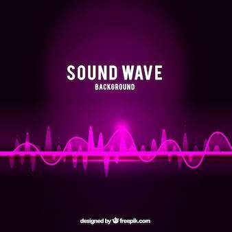 紫色のトーンで音の波の背景