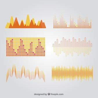 抽象的なスタイルの音波のパック