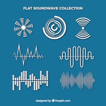 様々なデザインのフラットな音波