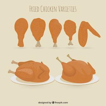 チキンと他の品種の太もも