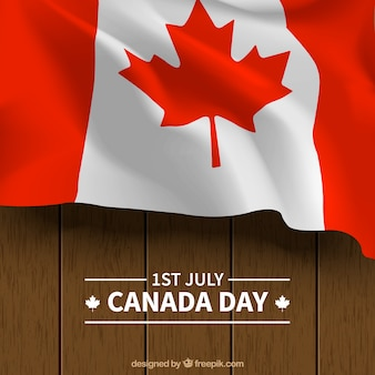 Деревянный фон с флагом канады