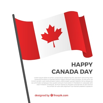 Счастливый день канады фон с декоративным флагом