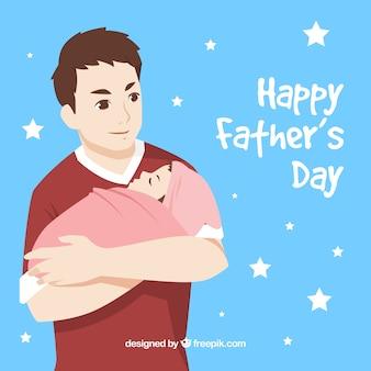 彼の赤ちゃんを抱擁している男と父の日の背景