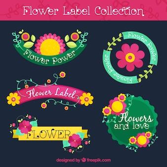 Набор декоративных этикеток с желтыми и розовыми цветами