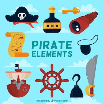 フラットデザインの装飾的な海賊オブジェクトのコレクション