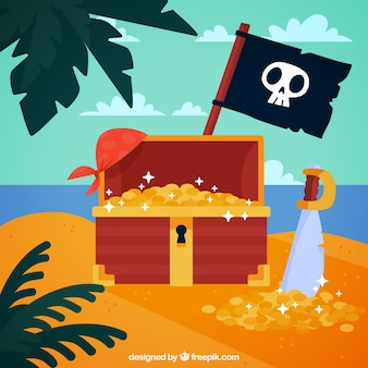 Остров фон с сундук с сокровищами