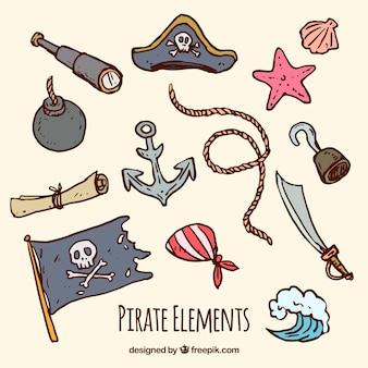 手描きの伝統的な海賊要素のコレクション
