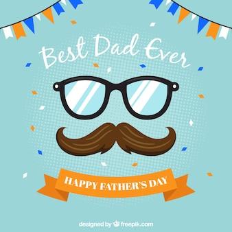 父の日のためのヒゲと眼鏡の背景