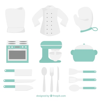 Коллекция пастельных цветных элементов кухни