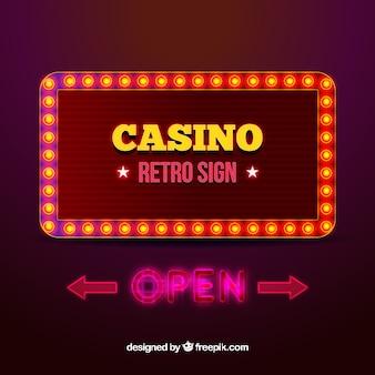 レトロスタイルのライトサインカジノの背景の背景