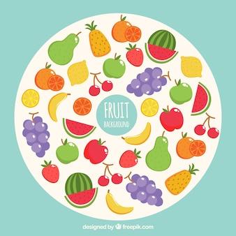白い円で果物と健康的な背景