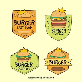 Пакет нарисованных вручную наклеек для гамбургеров