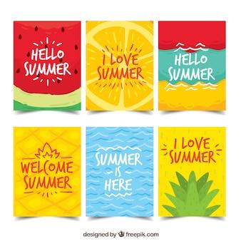 夏のカードのコレクション