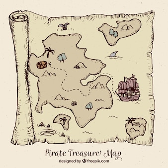 Винтажная карта с пиратским сокровищем